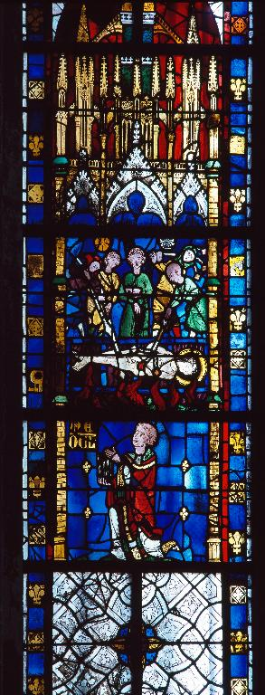 Ensemble de deux verrières hagiographiques : Scènes de la vie de saint Vincent et de la vie de saint Pierre (baies 10 et 14)