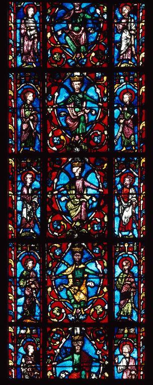 Verrière légendaire : Arbre de Jessé et scènes de l'Enfance du Christ (baie 0)