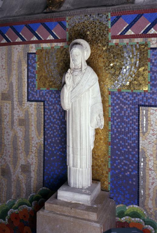 Ensemble de 2 statues : Christ du Sacré-cœur et Immaculée Conception