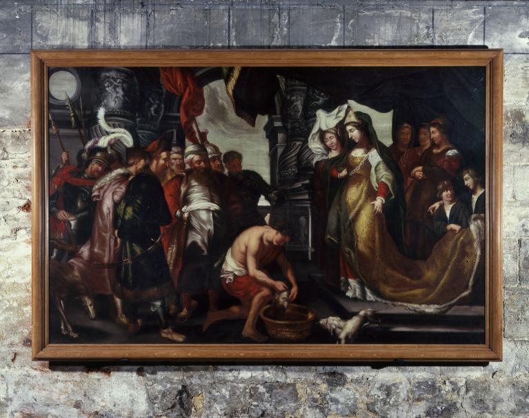 Tableau : Thomyris, reine des Scythes, fait plonger la tête de Cyrus dans un vase de sang