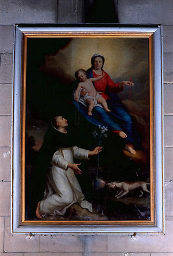 Tableau et son cadre : Apparition de la Vierge du Rosaire à saint Dominique
