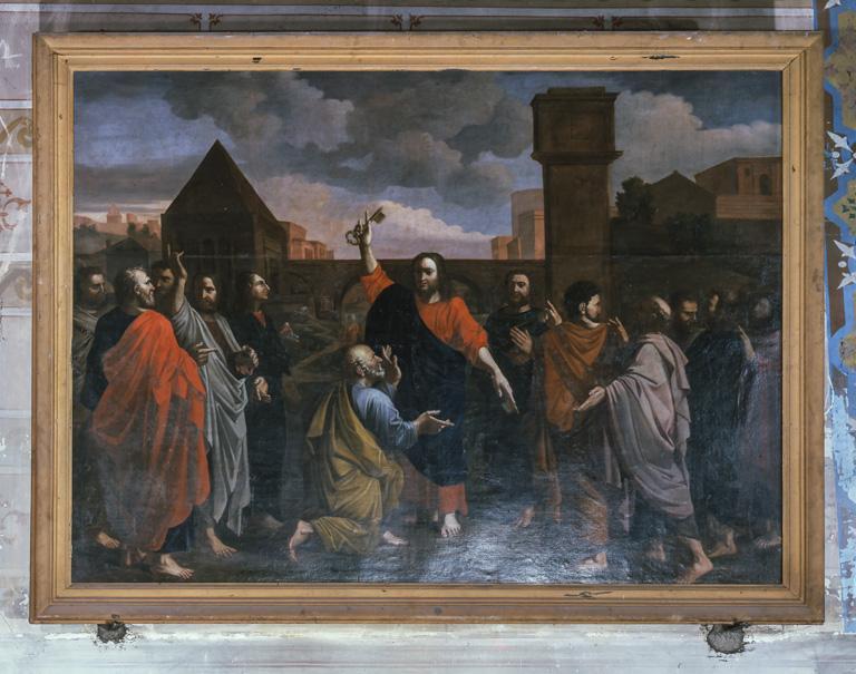 Tableau et cadre : L'Ordre, Jésus donnant les clefs à saint Pierre