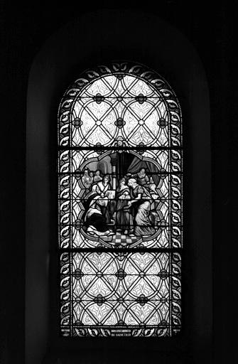 verrière (baie 5) : naissance de saint Jean-Baptiste