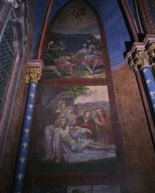 Peintures monumentales du mur ouest de la chapelle Notre-Dame-de-Labon: Montée au Calvaire, Déploration du Christ mort, Résurrection du Christ