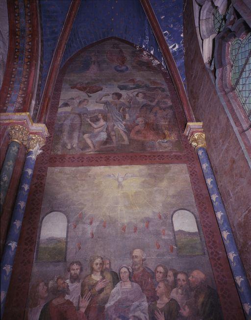 Peintures monumentales du mur est de la chapelle Notre-Dame-de-Labon: Pentecôte, Jugement dernier