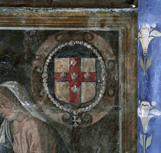 Peinture monumentale du mur sud de la chapelle Notre-Dame-de-Labon (décor intérieur): Adoration des bergers, Adoration des mages ; Ensemble des peintures monumentales de la chapelle Notre-Dame-de-Labon: scènes du Nouveau Testament