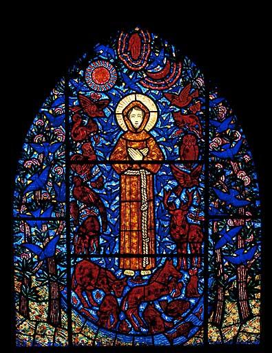 Verrière à personnages : saint François d'Assise parlant aux animaux (baie 6)