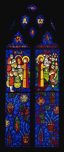 Verrière figurée : les miracles du Christ (baie 1)