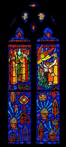 Verrière figurée : Abraham et Melchisédech (baie 2)