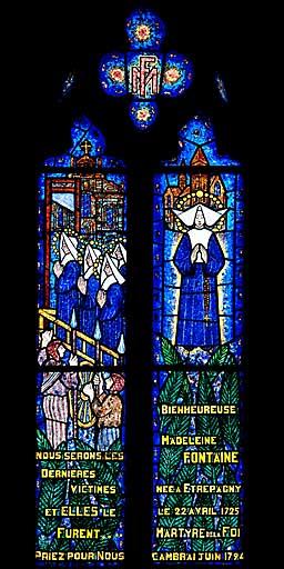 verrière, baie 9 : Martyre des Carmélites de Cambrai