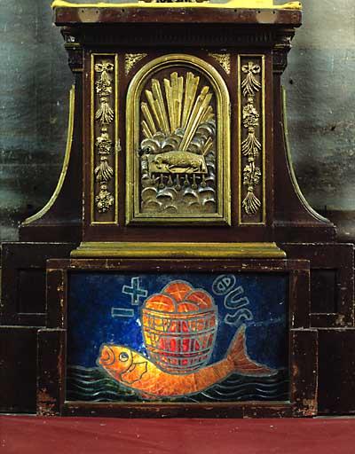 Plaque décorative (de tabernacle) : Pain et poisson