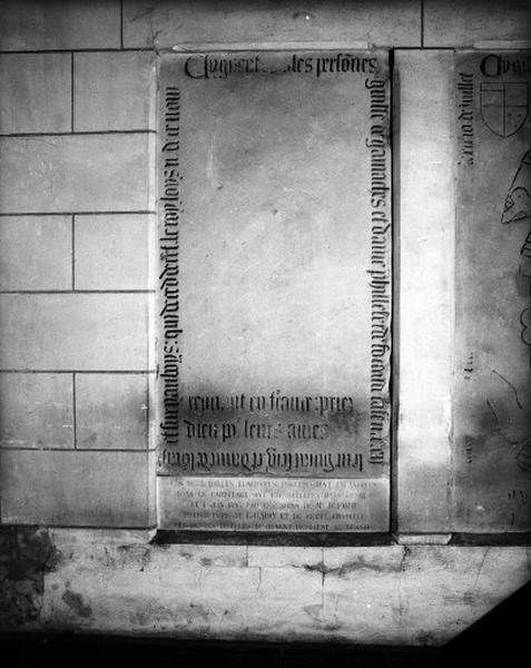 Dalle funéraire, de Guillaume Gamache et de Philiberte de Focaud