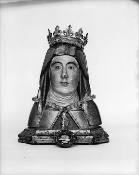 Buste-reliquaire, chapelet, couronne, de sainte Montaine