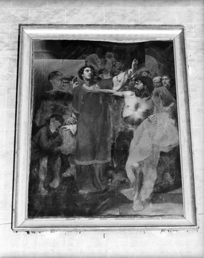 Tableau : saint Etienne emmené au martyr