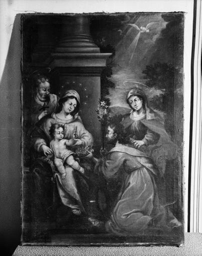 Tableau : Sainte Famille devant un personnage agenouillé