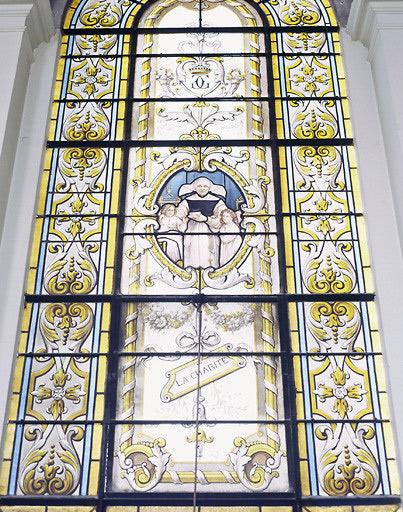 verrières (6, verrière figurée décorative) : saints patrons de la famille de Clocheville