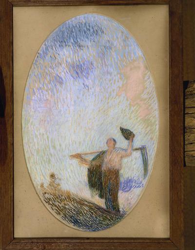 Peinture de plafond : paysan saluant l'aurore