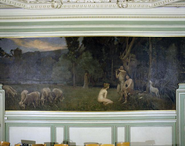 Peinture : bergers le soir