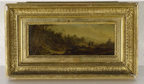 Tableau : paysage avec 2 personnages