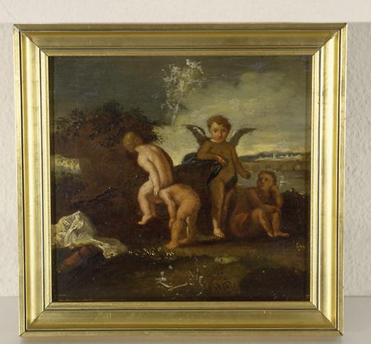 peintures (4) : putti jouant à saute mouton, putti tirant un véhicule, putto jouant au cerceau, putti jouant avec un chien