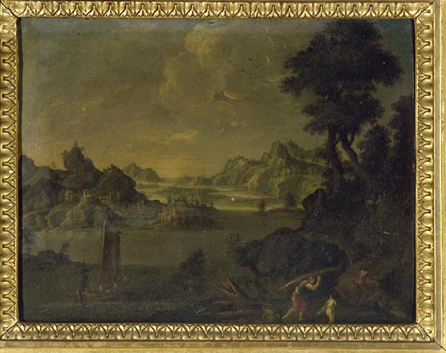 tableau : paysage fluvial avec un bateau de pêcheurs