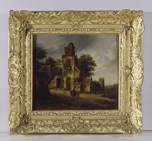 Tableau : paysage avec ruines et personnages