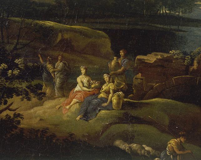 Tableau : paysage historique avec figures drapées à l'antique