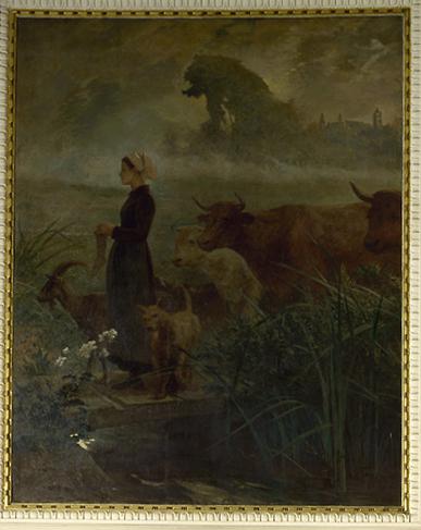 Peinture (2) : vendanges (les) élevage (l'), vendanges