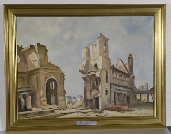 Tableau : ruines de l'église des jésuites et de l'hôtel de Beaune