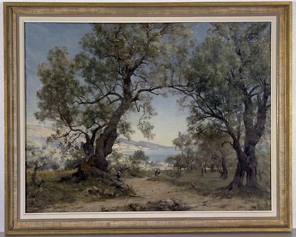 Tableau : paysage avec arrière plan maritime