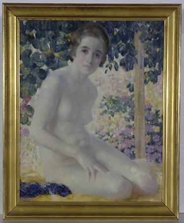 Tableau : nu de femme sur fond de feuillages et de fleurs