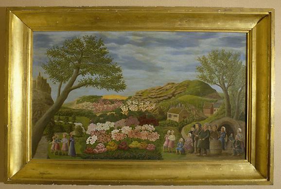 Tableau : paysage naïf avec villageois