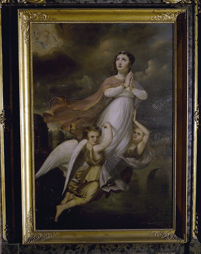 Tableau : sainte Philomène secourue par 2 anges