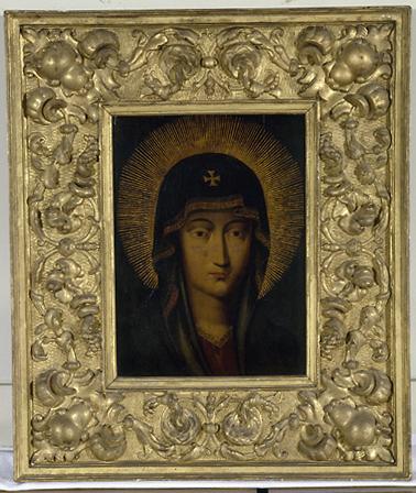 2 tableaux (en pendant) : la), portrait de la Vierge