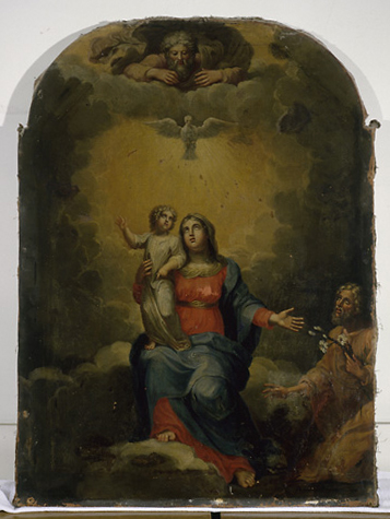 Tableau : Sainte Famille avec Dieu le Père et le Saint-Esprit