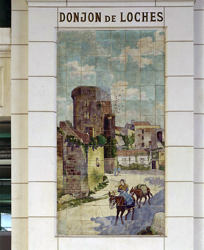 Carrelages muraux (suite de 16 panneaux) : sites de Touraine, de Bretagne, d'Auvergne et du sud ouest