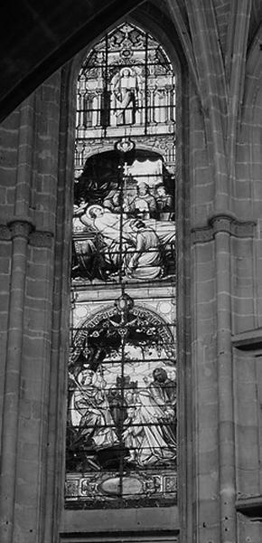 Ensemble de 5 verrières : Scènes de la vie de Saint Louis (baies 100, 101, 102, 103, 104)