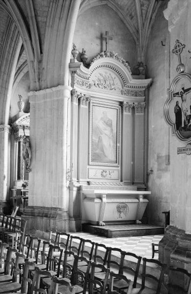 Autel secondaire Saint-Paul (autel, degré d'autel, 2 gradins d'autel, retable, tableau)