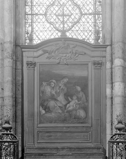 Retable et tableau : sainte Anne Trinitaire et un ange