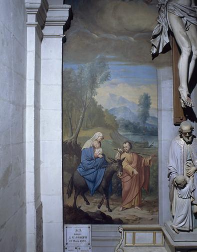 Ensemble de 2 peintures monumentales : la Fuite en Egypte, la Mort de saint Joseph
