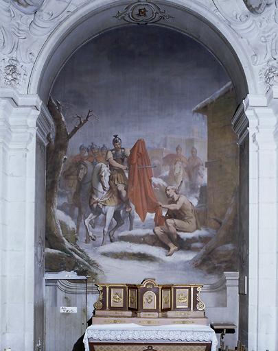 Ensemble de 12 peintures monumentales : le Père Vincent en chaire, gloire de saint Vincent de Paul, saint Martin de Tours et gloire du Christ, vertus théologales, vertus cardinales