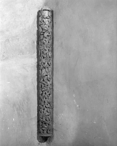 Ensemble de 4 colonnettes du portail Royal : ornementation végétale, signes du zodiaque, mois et travaux des champs