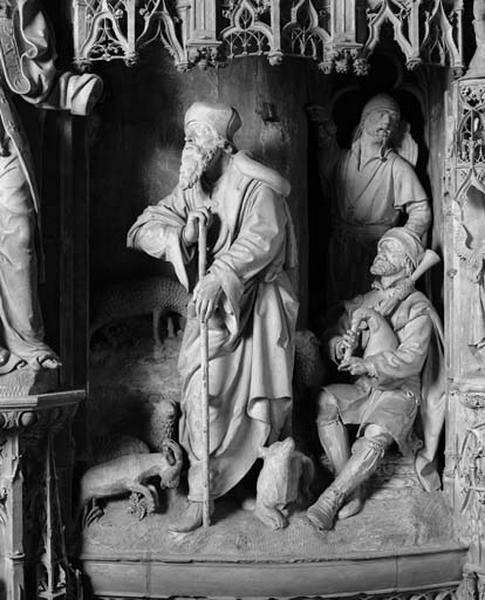 groupe sculpté : Annonce de la naissance de la Vierge à Joachim