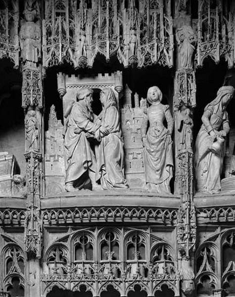 Groupe sculpté : Rencontre d'Anne et Joachim à la Porte Dorée