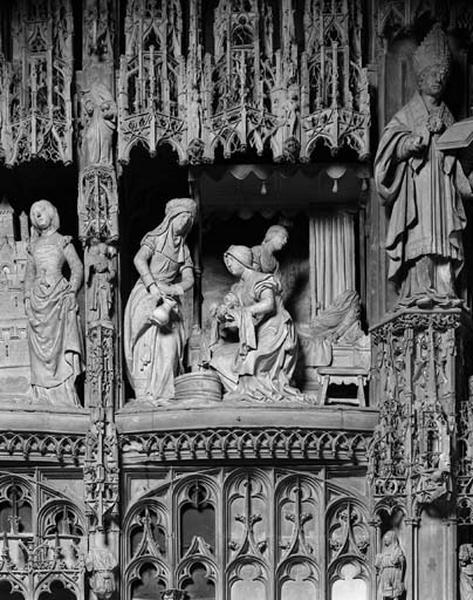 groupe sculpté : Nativité de la Vierge