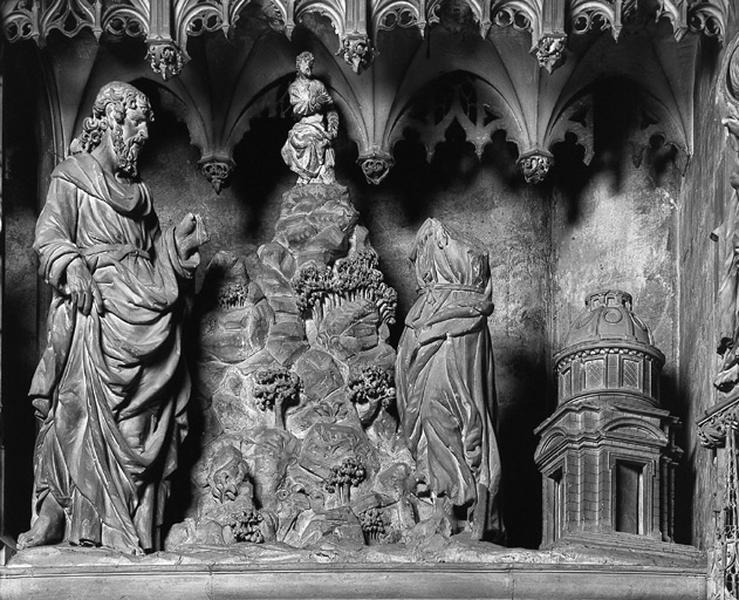 groupe sculpté : Tentation du Christ