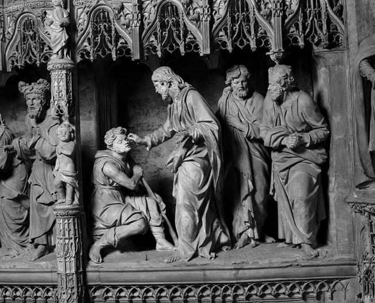 groupe sculpté : Guérison de l'aveugle-né