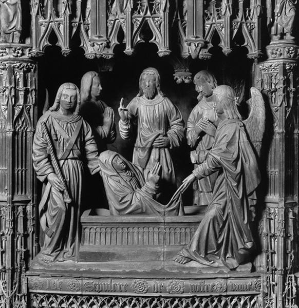 groupe sculpté : Résurrection de la Vierge