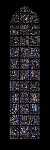 Ensemble de 36 verrières : scènes de la vie du Christ, scènes de la Vie de la Vierge, scènes de la vie des saints et martyrs, la vie de Charlemagne, donateurs, apôtres, le zodiaque et travaux des mois