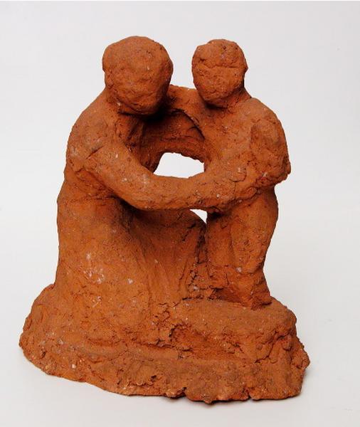 groupe sculpté : l'enfant au bain